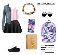 """""""Untitled #327"""" by geekgirl1010 ❤ liked on Polyvore featuring MANGO, Converse, Lilly Pulitzer, Accessorize, denimjackets and WardrobeStaples"""