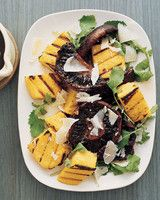 Grilled Polenta and Balsamic Mushrooms Vegetarian Recipes | Martha Stewart Living — Polenta, arugula, slivers of Parmesan cheese, and juicy portobello mushrooms are drizzled with a warm balsamic sauce.