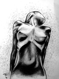#mydrawings #pencil #charcoal  Naked woman, front view                   < ♤pinterest: @ttuci  >