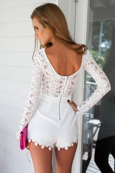 Oopsy Daisy Playsuit-Back,White