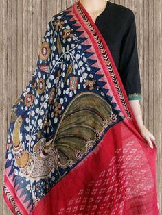 Buy Indigo with Red Temple Border Ikat Kalamkari Dupatta