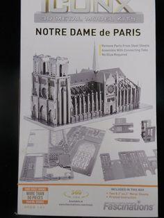 Metal Earth Iconx Notre Dame de Paris 3D Puzzle Mini Model Fascinations 50 piece #Fascinations