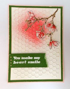 Made by Nicole Dieltjes van Poppel with 115633/0602 CraftEmotions Die - Cutting Grid - honingraat / honeycomb / Waben / Card 10,5x14,8cm / 8718736029555 and 130501/1249 CraftEmotions clearstamps A6 - magnolia  / 8718736028688