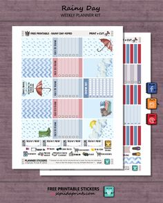Free Printable Rainy Day Planner Stickers from Sepiida Prints