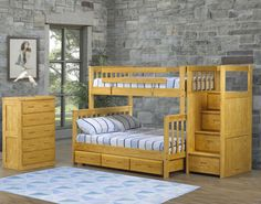 Mission Bunk Beds | Crate Designs Twin over double is shown with bunkbed staircase and trundle bed. Perfect for kids and cottages.