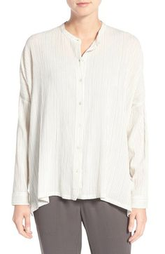 Eileen Fisher Stripe Cotton & Modal Mandarin Collar Shirt available at…