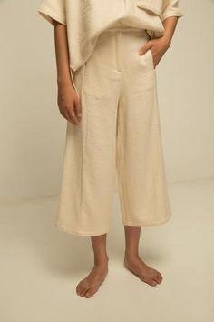 cream coloured textured culottes