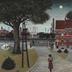 [ D ] Paul Delvaux - Le passage à niveau (1961), via Flickr.