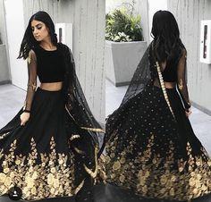 Indian Lehenga, Indian Gowns, Indian Attire, Black Lehenga, Indian Wedding Outfits, Pakistani Outfits, Indian Outfits, Indian Clothes, Wedding Dress