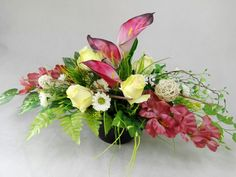 GLADIOLA róż wenecki KALIA RÓŻE 1060.6A stroik na grób+BUKIET KOMPLET Kompozycje kwiatowe Marko604