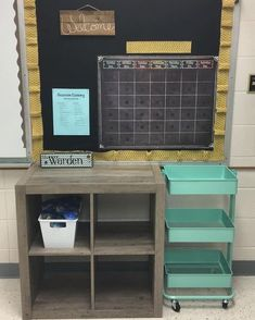 This mint cart from will soon hold our supplies. The shelf will be for shared supplies in our classroom. And that yellow burlap I used as a boarder will be replaced.
