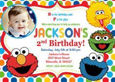 Sesame Street Birthday Party Invitation by PrettyPaperPixels Elmo Birthday, 2nd Birthday Parties, Birthday Party Invitations, Birthday Ideas, Sesame Street Party, Sesame Street Birthday, Sesame Street Invitations, Party Themes For Boys, Jackson