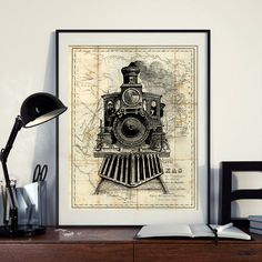 Vintage Map of North America Texas Art Print Locomotive Poster Engine Art Instant Download Printable A4 A3 8×10 & 11x14 Wall HQ300dpi by ZikkiArt on Etsy