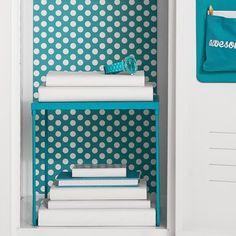 Teal Dottie Locker Wallpaper | PBteen