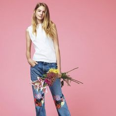 Get down in this season's rad embroidered denim trend—trust us, it's sew cute.