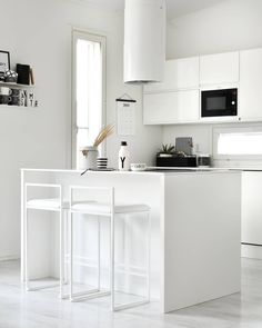 Clean nordic interior in Finland! 💛 Here with white frame high and white leather cushion. by Crea Freja- bar chair 2295 kr I 228 € . Easy Home Decor, White Frame, Decor, Interior Design, White Kitchen, Nordic Interior, Furniture, Interior, Home Decor