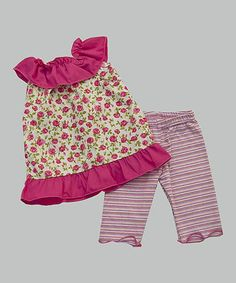 Look what I found on #zulily! Pink Roses Yoke Tunic & Stripe Leggings - Toddler & Girls #zulilyfinds