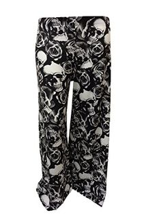 XclusiveCollection Womens Plus Palazzo Trousers Skull-Rose Print Skull-Rose 24/26 ** Check out this great product.