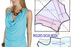 BLUSA AZUL CLARO COM GOLA DRAPEADA Blouse Patterns, Clothing Patterns, Work Dresses For Women, Clothes For Women, Costura Fashion, Sewing Blouses, Baby Girl Dress Patterns, Diy Dress, Fashion Sewing