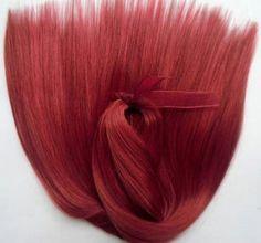 Doll Hair Ruby Red-Black Variegated-Extralong by Treasuresdolls