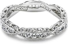 Tacori Criss-Cross Channel-Set & Pave Diamond Eternity Band : Diamond eternity band from the Contemporary Crescent Silhouette Collection. This criss-cross style band is filled with round channel-set diamonds and accented with round pave-set diamond details.
