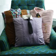 DIY Gift Idea: Use Men's Shirts to create character pillows... | To Catch A Thrift     SO cute.