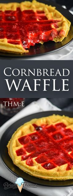 This Cornbread Waffle pairs perfectly with my Cranberry Syrup recipe! THM:E, low fat, sugar free, gluten/nut free with dairy free suggestion Cranberry Syrup Recipe, Cornbread Waffles, Sugar Free Syrup, Unsweetened Applesauce, Chicken And Waffles, New Cookbooks, Sweet Tarts, Recipe Today, Other Recipes