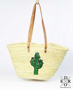 """The new summer must-have - the beach bag """"Green Cactus"""" Made of basket . - The most beatiful home designs Summer Hats, Green Cactus, Mens Straw Hats, Hats For Men, Western Hats, Cowboy Hats, Canvas Laundry Bag, Cactus Wall Art, Spring Summer"""