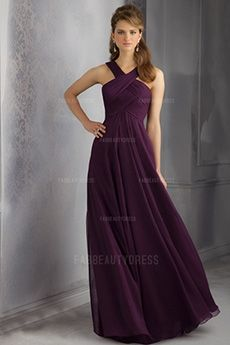 A-Line/Princess Halter Floor-length Chiffon Bridesmaids Dress