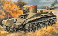 Советский легкий быстроходный танк БТ-2.