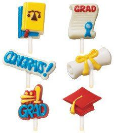 This graduation lollipop mold contains 6 designs and 6 cavities. They measure approximately 4' tall by 3/4 wide.