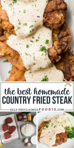 Country Fried Steak, also known as Chicken fried steak, is a Southern food classic but is so easy to make at home. Tenderized round steak, or cube steak, is breaded and fried to a crispy golden brown. The pan drippings are used to make a flavorful creamy milk gravy to smother the steaks. Serve with mashed potatoes for a decadent comfort food dinner. Veal Recipes, Yummy Chicken Recipes, Easy Dinner Recipes, Cooking Recipes, Rib Recipes, Family Recipes, Beef Dishes, Food Dishes, Main Dishes