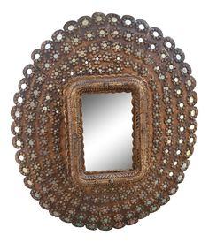 Gold Peacock Wall Mirror on Chairish.com