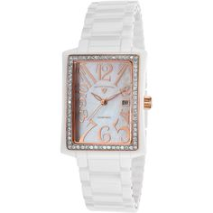 Swiss Legend Bella Diamond Ceramic White Mop Dial Rose-Gold Tone... ($171) ❤ liked on Polyvore featuring jewelry, watches, white, white crown, diamond jewelry, ceramic watches, diamond watches and ceramic crowns