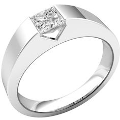 A striking tension set Princess Cut diamond ring in 18 ct. white gold