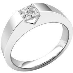 A striking tension set Princess Cut diamond ring in 18 ct. white gold