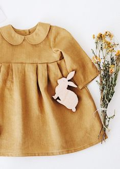 Handmade Mustard Linen Peter Pan Collar Baby Toddler Dress | RockyRacoonApparel on Etsy