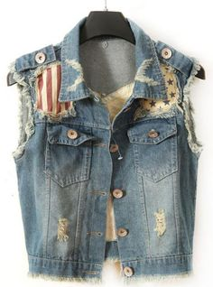 Product search_Wear Sleeveless Waistcoat Vest_udobuy - Fashion Dress with Free Shipping Jean 1, Denim Jacket Fashion, All American Girl, Fashion Forms, Denim Crafts, Jean Vest, Blue Vests, Festival Fashion, Cool Outfits