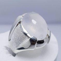 Natural Rutilated Quartz Mens Ring Moonstone Ring Real Muh e Najaf Ring Muh al Najaf Handmade Moonstone Ring Dur e Najaf Sterling Silver 925