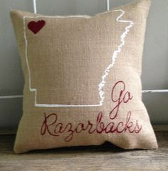 "University of Arkansas, Razorbacks burlap pillow- ""Go Razorbacks"", university of Arkansas, Custom Made to Order"