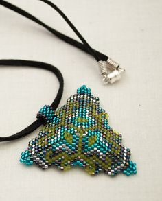 Colorful Peyote Stitched Triangle Beaded Pendent by BrigidsMoon, $20.00