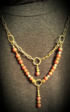 Finely Polished Deep Orange Bamboo Coral Brass by FlowerFelicity, $31.99