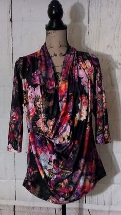 Eci New York Blouse Floral Cowl Neck Stretch Top 3/4 Sleeve Tunic Shirt Women M #ECI #Blouse #Any