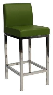 """Laverton"" Stainless Steel Square Frame Padded Bar Stool in Green - AU$169 - https://www.simplybarstools.com.au/products/laverton-stainless-steel-square-frame-padded-bar-stool-in-green – Simply Bar Stools - steel, padded, fixed leg, bar stools. #Australia #Furniture"
