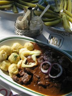 Gulyás vs Pörkölt (Hungary). 'A bone of contention among Hungarians is what foreigners erroneously refer to as goulash, which here is a rich 'stew' usually made with beef or veal called pörkölt. Gulyás is actually a meat soup.' http://www.lonelyplanet.com/hungary