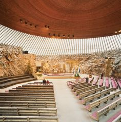 The 1969 Temppeliaukion Kirkko, or Rock Church as it is known, is one of the most popular places to visit in Helsinki. The dramatic interior space was created from a solid granite outcropping, and is often used as a concert hall because of its superior acoustics. Photo by Hertha Hurnaus.