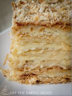 Russian Napoleon Cake is the ultimate Napoleon Cake and a cousin of the traditional Napoleon Recipe, it is made of crispy layers of puff pastry, sandwiched together with creamy and buttery custard. Russian Napoleon Cake is the ultim Napoleon Pastry, Napoleon Dessert, Napoleon Cake, Puff Pastry Desserts, Puff Pastry Recipes, Pastry Cake, Baking Recipes, Cake Recipes, Dessert Recipes