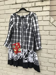 The Clara tunic dress: Stunning black and white upcycled eco friendly small-medium boho chic one of a kind Melbury Road plaid Diva Fashion, Fashion Outfits, Plaid Fashion, Fashion Sewing, Shirt Makeover, Altered Couture, Sequin Party Dress, Shirt Refashion, Clothes Crafts