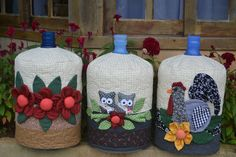 A little something I found on another site. Sewing Art, Free Sewing, Sewing Crafts, Sewing Projects, Appliance Covers, Wool Quilts, Patch Quilt, Bottles And Jars, Diy And Crafts