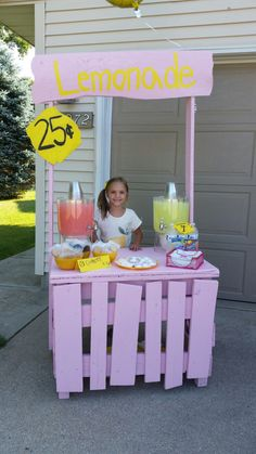 Lemonade stand made from scrapwood!:) Kyra had so much fun selling lemonade & cookies!